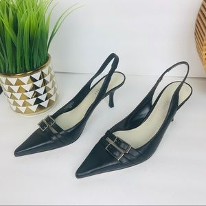 Nine West Black Leather kitten heel shoes